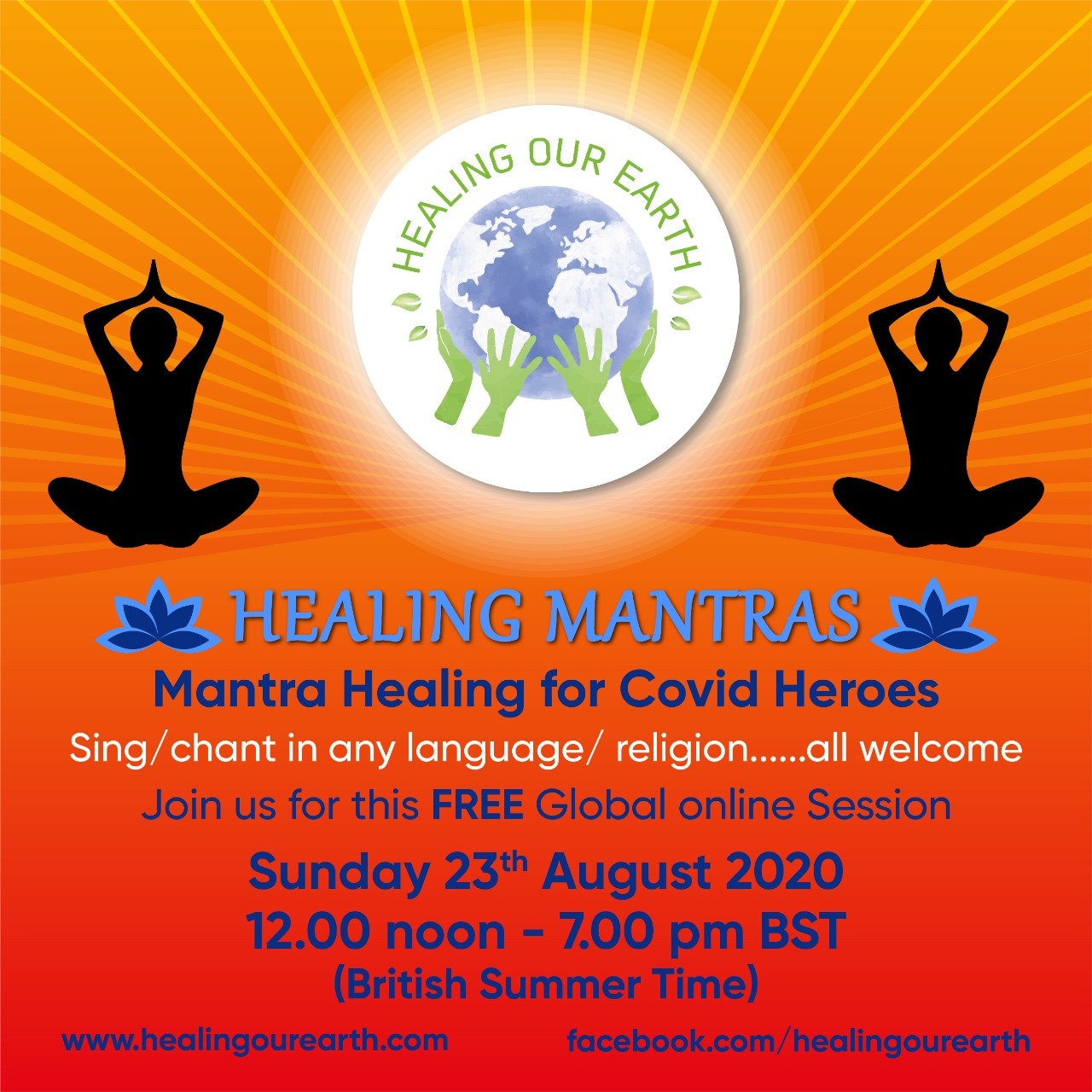 Mantra Healing fror Covid Heroes - 23rd Aug 2020 - 12noon to 7pm